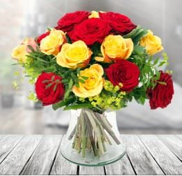 Żółte i Czerwone Róże