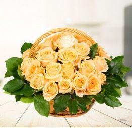 Kosz 25 Żółtych Róż